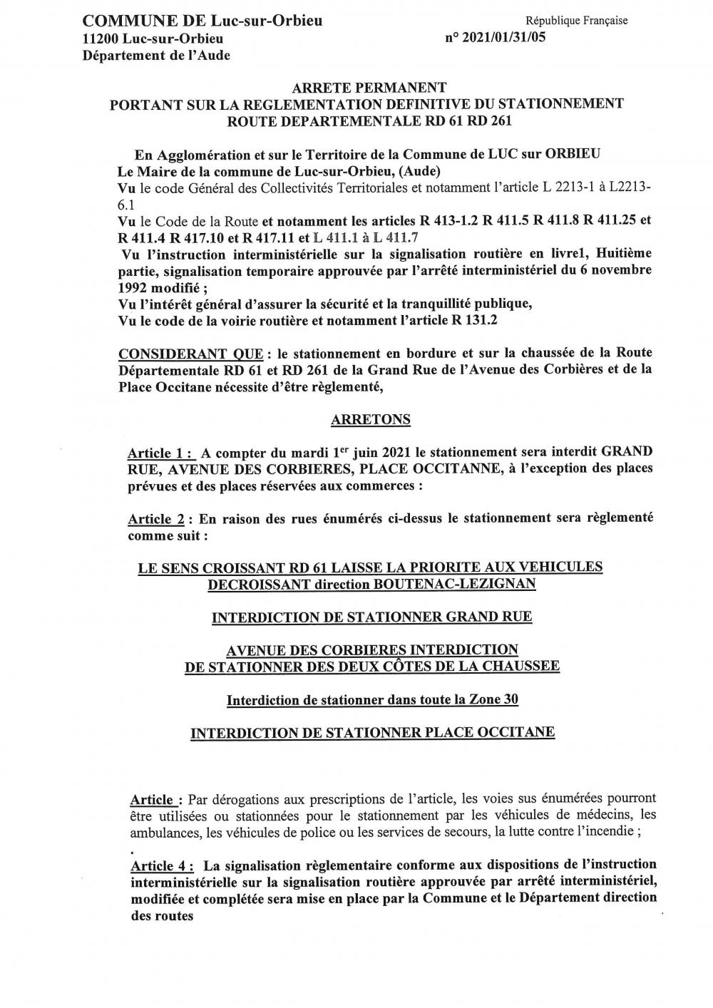 Arrêté PERMANENT portant sur la règlementation définitive du stationnement RD 61 + RD 261