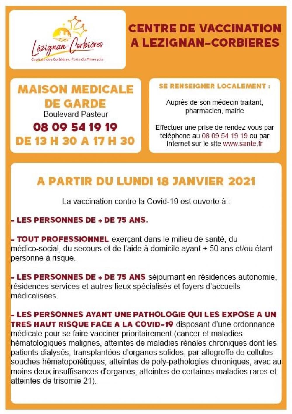 Centre de vaccination COVID-19 LEZIGNAN-CRBS